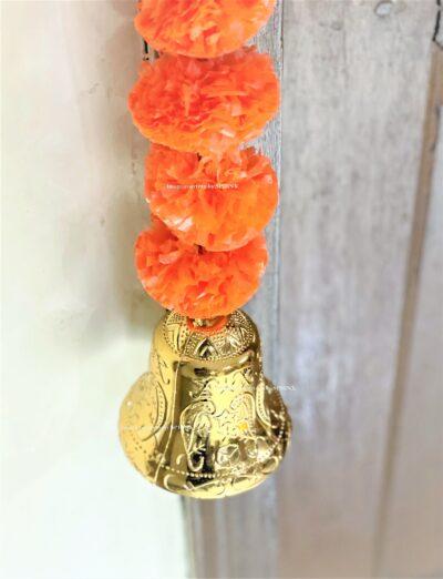 Sphinx artificial marigold fluffy flowers single line door toran set with bell dark orange 5
