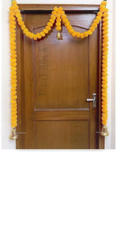 Sphinx artificial marigold fluffy flowers single line door toran set with bell light orange 1