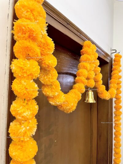 Sphinx artificial marigold fluffy flowers single line door toran set with bell light orange 4