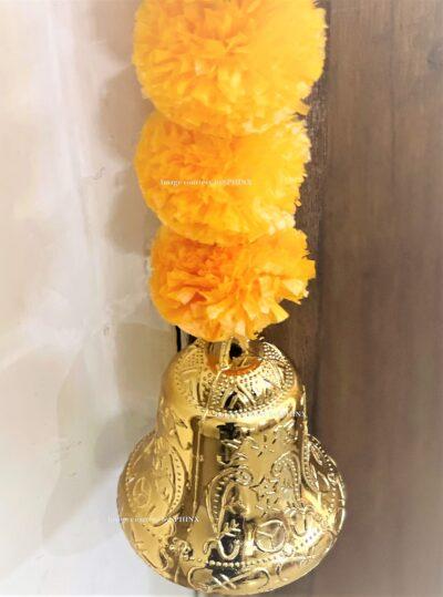 Sphinx artificial marigold fluffy flowers single line door toran set with bell light orange 5