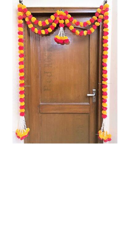Sphinx artificial tuberose ( rajnigandha) and fluffy marigold door toran set light orange and red 1