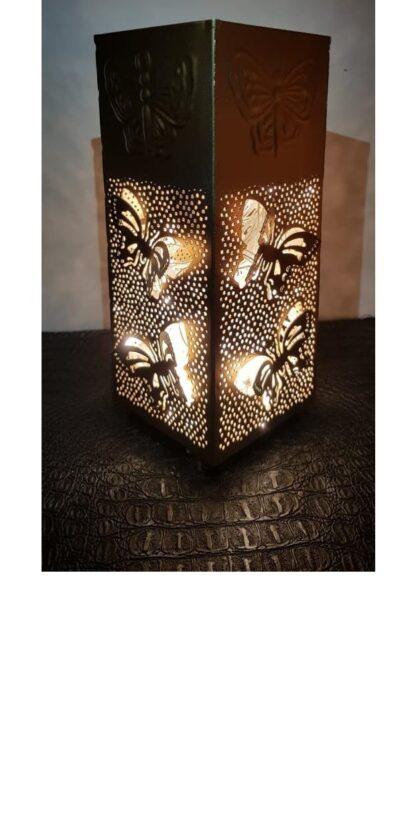 sphinx handcrafted metallic engraved butterfly cuboid shape aroma diffurser decorative lantern 1