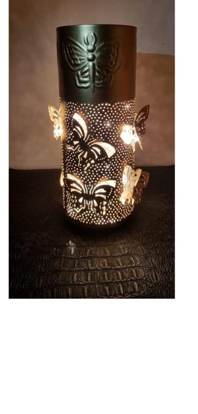 sphinx handcrafted metallic engraved butterfly cylindrical shape aroma diffurser decorative lantern 1