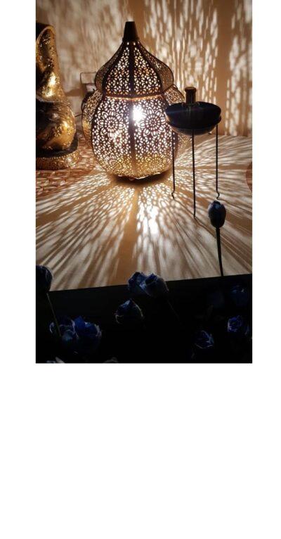sphinx handcrafted metallic tombed matki shape roman aroma diffuser lantern golden 1