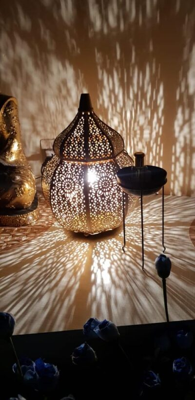 sphinx handcrafted metallic tombed matki shape roman aroma diffuser lantern golden 3