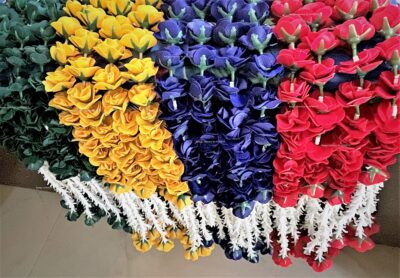 sphinx artificial velvet rose heads and clustered tuberose garlands approx 2.5 ft mix colors 1