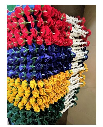 sphinx artificial velvet rose heads and clustered tuberose garlands approx 2.5 ft mix colors 2