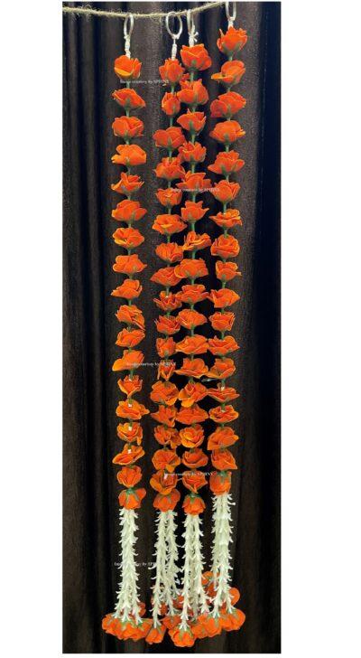 sphinx artificial velvet rose with clustered tuberoses garlands pack of 4 dark orange 2