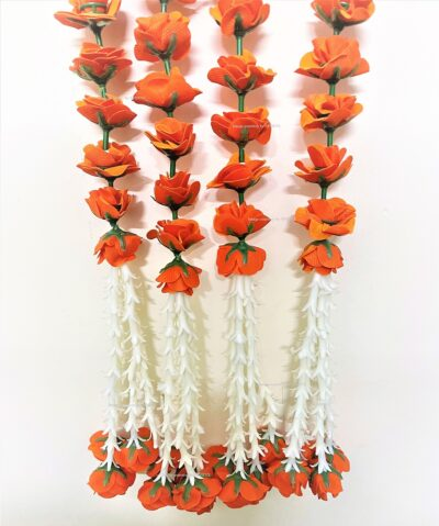 sphinx artificial velvet rose with clustered tuberoses garlands pack of 4 dark orange 4