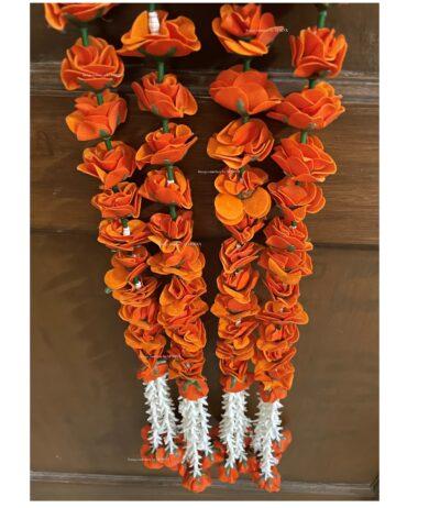 sphinx artificial velvet rose with clustered tuberoses garlands pack of 4 dark orange 5