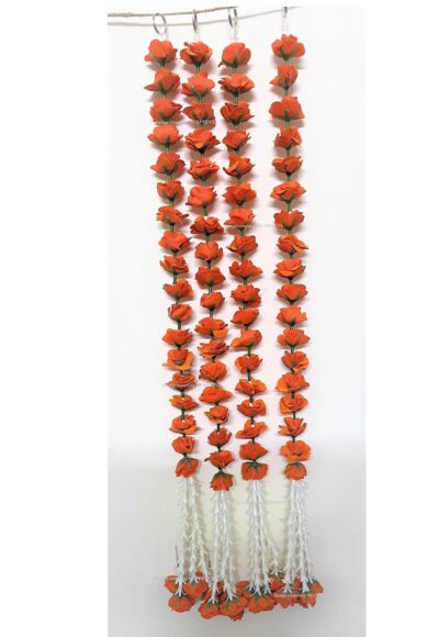 sphinx artificial velvet rose with clustered tuberoses garlands pack of 4 dark orange 6