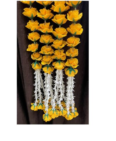 sphinx artificial velvet roses clustered tuberose approx 2.5 garlands pack of 4 mustard yellow 1