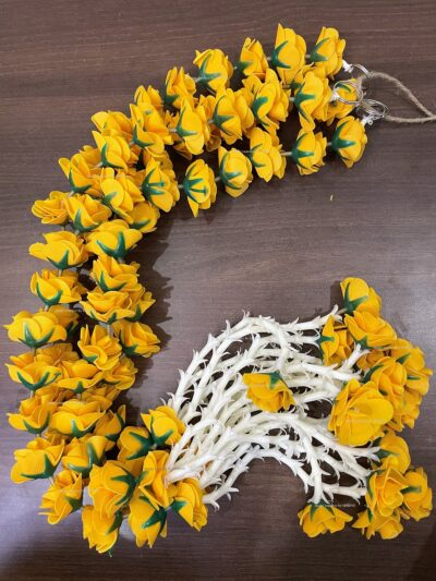 sphinx artificial velvet roses clustered tuberose approx 2.5 garlands pack of 4 mustard yellow 4