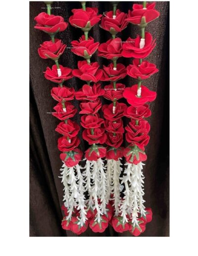 sphinx artificial velvet roses with clustered tuberose garlands pack of 4 red 1