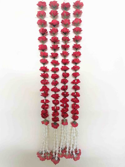 sphinx artificial velvet roses with clustered tuberose garlands pack of 4 red 2