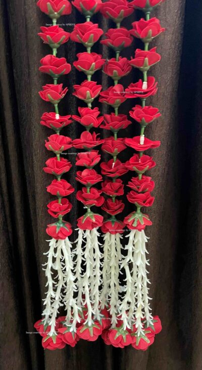sphinx artificial velvet roses with clustered tuberose garlands pack of 4 red 4