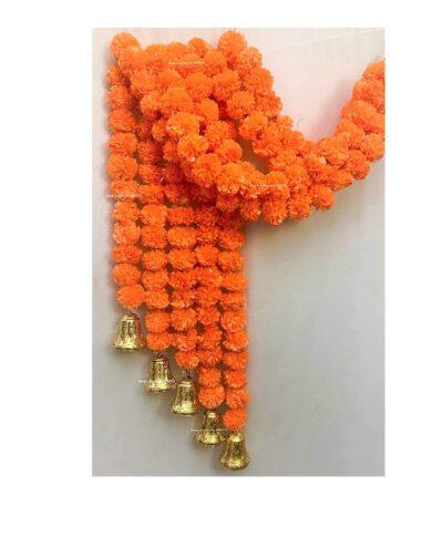 sphinx artificial marigold fluffy flowers with golden bells approx 5 ft dark orange 1