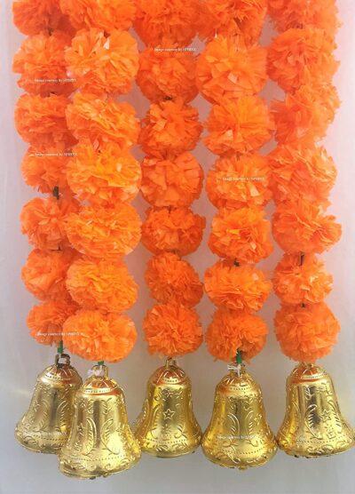 sphinx artificial marigold fluffy flowers with golden bells approx 5 ft dark orange 2