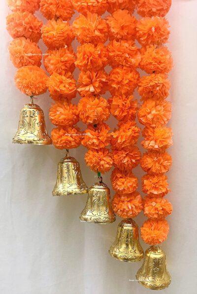 sphinx artificial marigold fluffy flowers with golden bells approx 5 ft dark orange 3